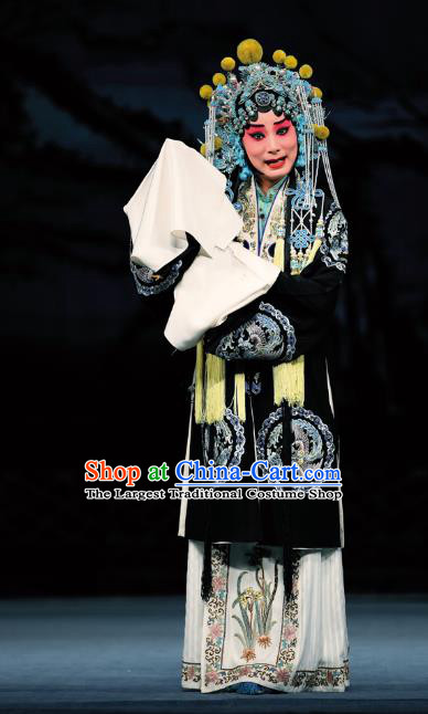 Chinese Beijing Opera Distress Female Apparels Costumes and Headdress Sacrifice Zhao Shi Gu Er Traditional Peking Opera Young Woman Black Dress Garment