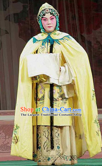 Chinese Beijing Opera Actress Zhuang Ji Apparels Costumes and Headdress Sacrifice Zhao Shi Gu Er Traditional Peking Opera Hua Tan Yellow Dress Garment
