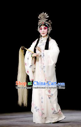 Chinese Beijing Opera Hua Tan Apparels Costumes and Headpieces Tai Zhen Wai Zhuan Traditional Peking Opera Taoist Nun White Dress Garment