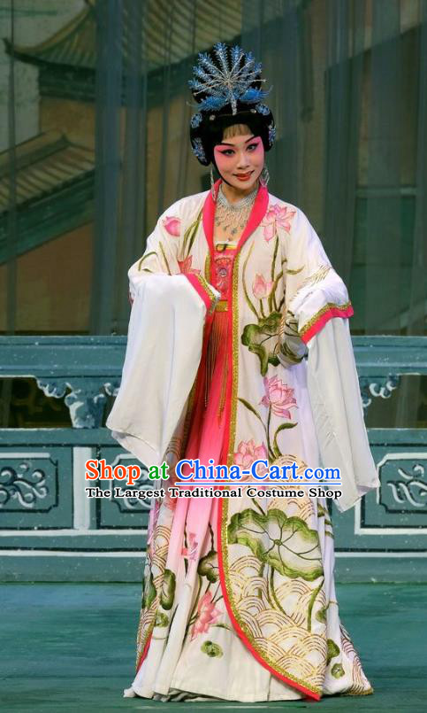 Chinese Beijing Opera Diva Imperial Consort Apparels Costumes and Headpieces Tai Zhen Wai Zhuan Traditional Peking Opera Hua Tan Yang Yuhuan Dress Garment