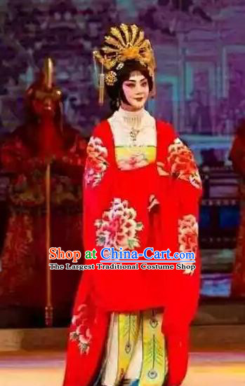 Chinese Beijing Opera Imperial Consort Yang Apparels Costumes and Headpieces Mei Lan Ni Chang Traditional Peking Opera Hua Tan Red Dress Garment