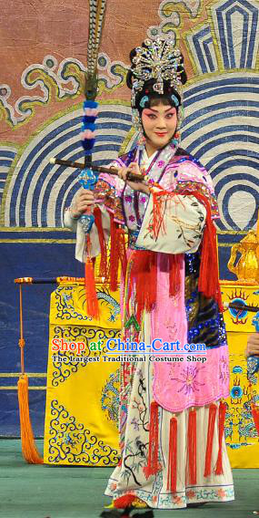 Chinese Beijing Opera Swordswoman Xi Shi Apparels Costumes and Headdress Traditional Peking Opera Actress Pink Dress Garment