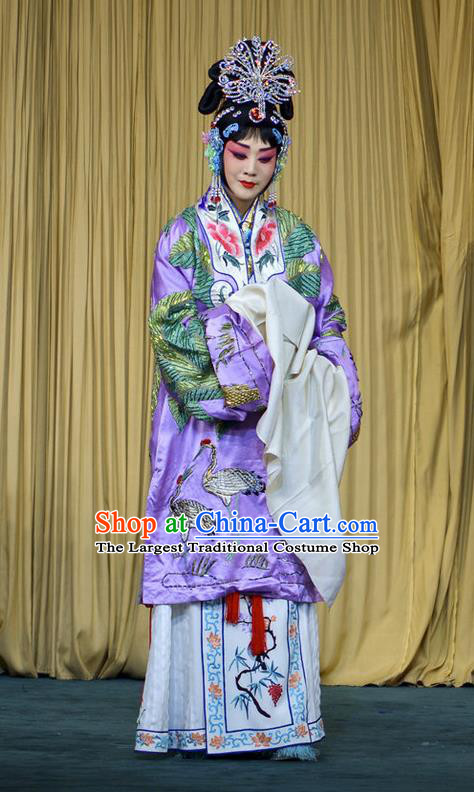 Chinese Beijing Opera Diva Imperial Consort Xi Shi Apparels Costumes and Headdress Traditional Peking Opera Actress Purple Dress Garment