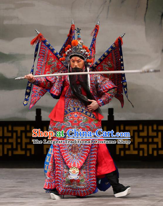 Xi Shi Chinese Peking Opera General Red Kao Armor Suit with Flags Garment Costumes and Headwear Beijing Opera Martial Male Apparels Clothing