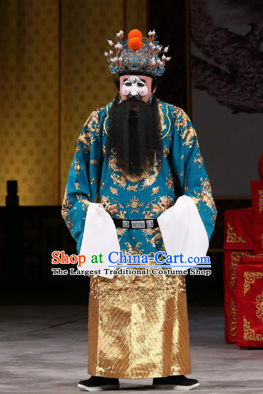 Xi Shi Chinese Peking Opera Official Bo Pi Garment Costumes and Headwear Beijing Opera Elderly Male Apparels Clothing