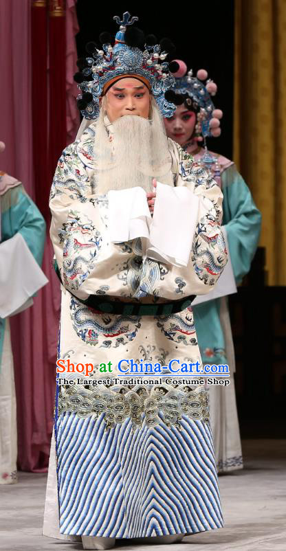 Xi Shi Chinese Peking Opera Elderly Official Wu Zixu Garment Costumes and Headwear Beijing Opera Apparels Old Man Python Embroidered Rob Clothing