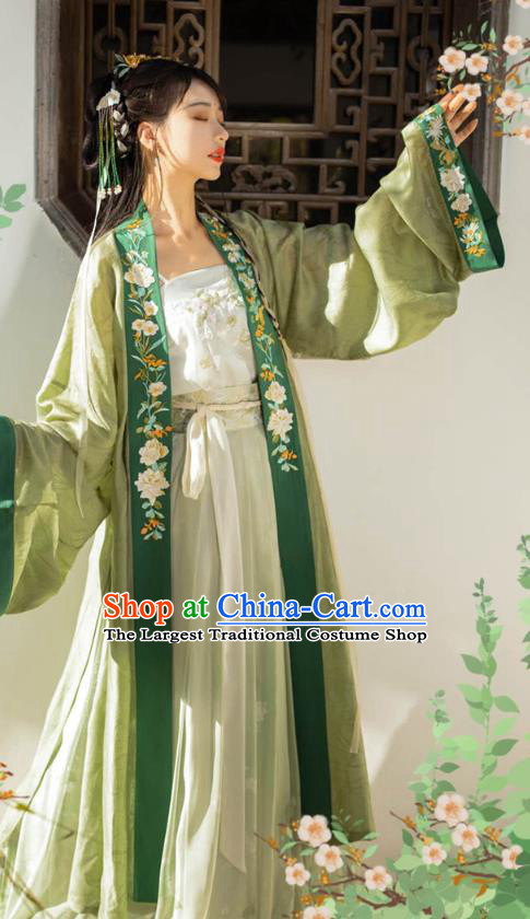 Traditional Chinese Song Dynasty Young Female Apparels Historical Costumes Ancient Royal Princess Embroidered Green Hanfu Dress