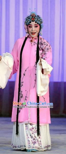 Chinese Beijing Opera Rich Female Han Xiangling Apparels Costumes and Headdress The Unicorn Purse Traditional Peking Opera Hua Tan Pink Dress Garment