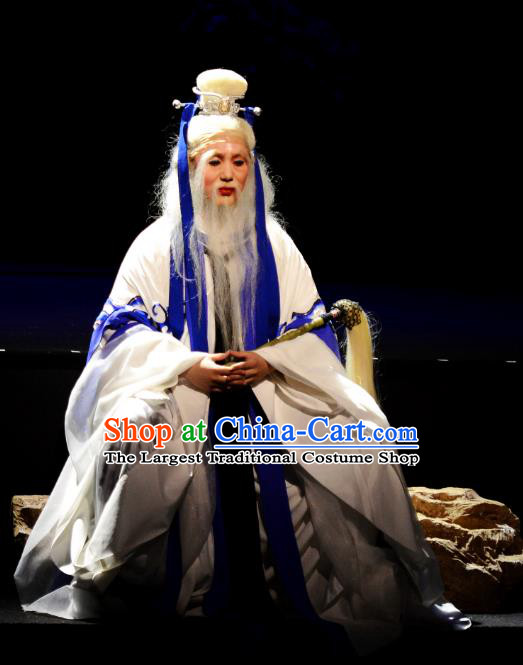 Goddess of the Moon Chinese Peking Opera Elderly Male Garment Costumes and Headwear Beijing Opera Old Immortal Apparels Clothing