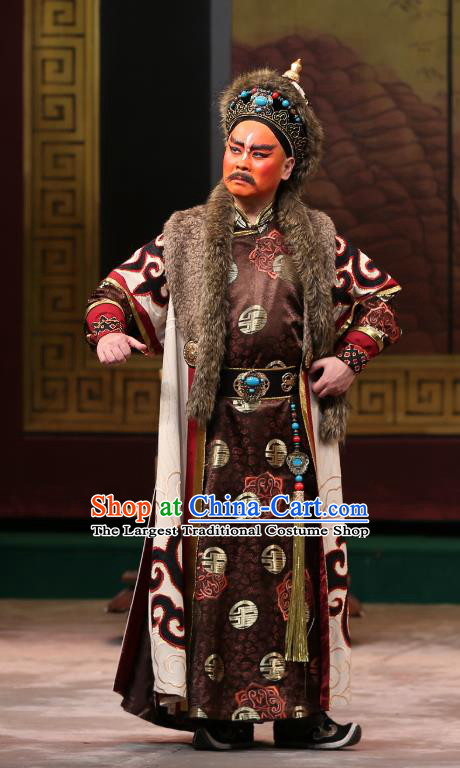 Kangxi Dadi Chinese Peking Opera King Geer Dan Garment Costumes and Headwear Beijing Opera Donald Apparels Clothing