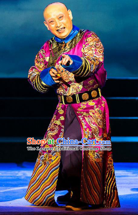 Kangxi Dadi Chinese Peking Opera Old Man Garment Costumes and Headwear Beijing Opera Qing Dynasty Elderly Eunuch Zhang Dequan Apparels Clothing
