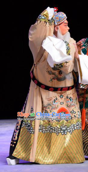 Chu Palace Hen Chinese Peking Opera Elderly Male Garment Costumes and Headwear Beijing Opera Official Wu She Apparels Clothing