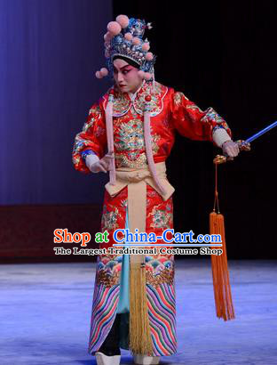 Chu Palace Hen Chinese Peking Opera Martial Male Garment Costumes and Headwear Beijing Opera Crown Prince Jian Red Apparels Clothing