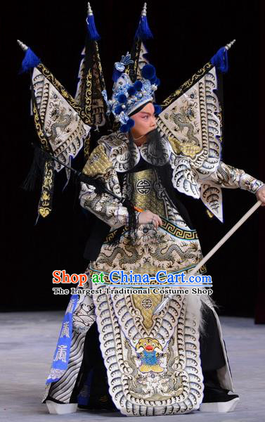Chu Palace Hen Chinese Peking Opera Military Officer Garment Costumes and Headwear Beijing Opera General Kao Armor Suit with Flags Apparels Clothing