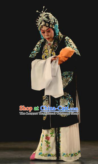 Chinese Beijing Opera Tsing Yi Apparels Costumes and Headdress Chu Palace Hen Traditional Peking Opera Dress Diva Ma Zhaoyi Garment