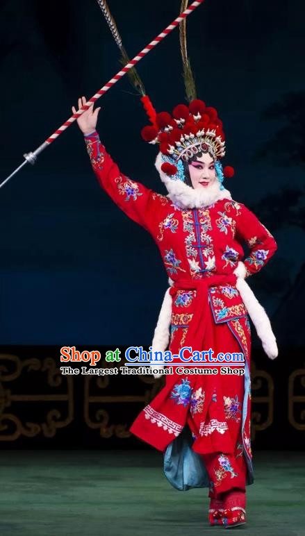 Chinese Beijing Opera Blues Apparels Costumes and Headdress Qing Shi Mountain Traditional Peking Opera Martial Female Red Dress Garment