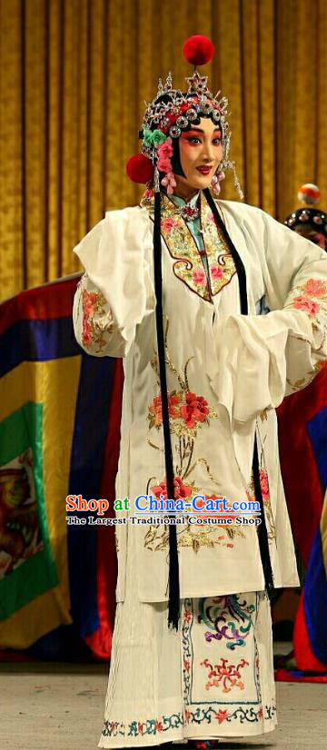 Chinese Beijing Opera Hua Tan Apparels Costumes and Headdress Qing Shi Mountain Traditional Peking Opera Actress Fox Fairy White Dress Garment