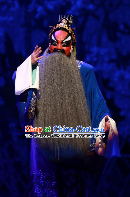 Zhen Guan Flourishing Age Chinese Peking Opera Elderly Male Garment Costumes and Headwear Beijing Opera Chancellor Wei Zheng Clothing Official Apparels
