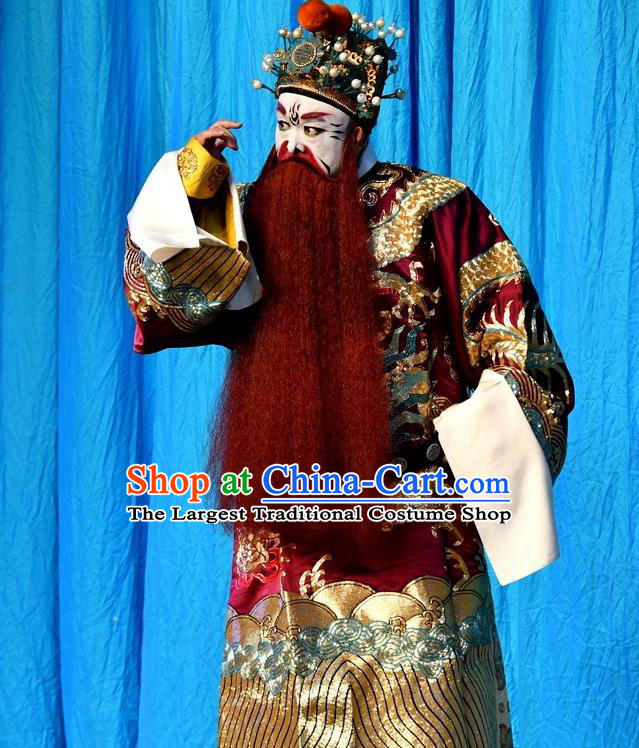 A Honey Trap Chinese Peking Opera King Garment Costumes and Headwear Beijing Opera Apparels Elderly Male Emperor Sun Quan Clothing
