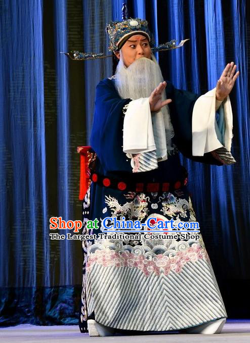 A Honey Trap Chinese Peking Opera Old Man Garment Costumes and Headwear Beijing Opera Laosheng Official Apparels Elderly Male Clothing
