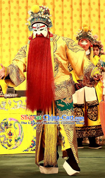 A Honey Trap Chinese Peking Opera Lord Sun Quan Garment Costumes and Headwear Beijing Opera Elderly Male Apparels Emperor Clothing