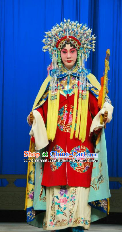Chinese Beijing Opera Hua Tan Red Apparels Costumes and Headdress A Honey Trap Traditional Peking Opera Actress Sun Shangxiang Dress Bride Garment
