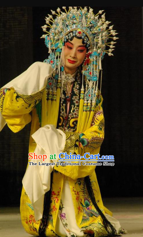 Chinese Beijing Opera Noble Female Apparels Costumes and Headdress A Honey Trap Traditional Peking Opera Actress Sun Shangxiang Yellow Dress Garment