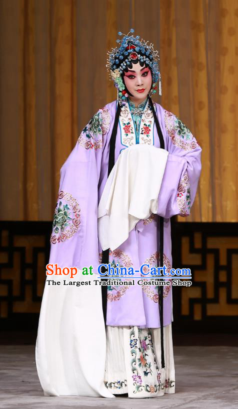 Chinese Beijing Opera Young Mistress Apparels Costumes and Headdress The Mirror of Fortune Traditional Peking Opera Actress Purple Dress Garment