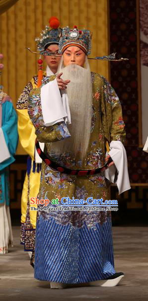 A Honey Trap Chinese Peking Opera Elderly Official Garment Costumes and Headwear Beijing Opera Laosheng Apparels Minister Clothing