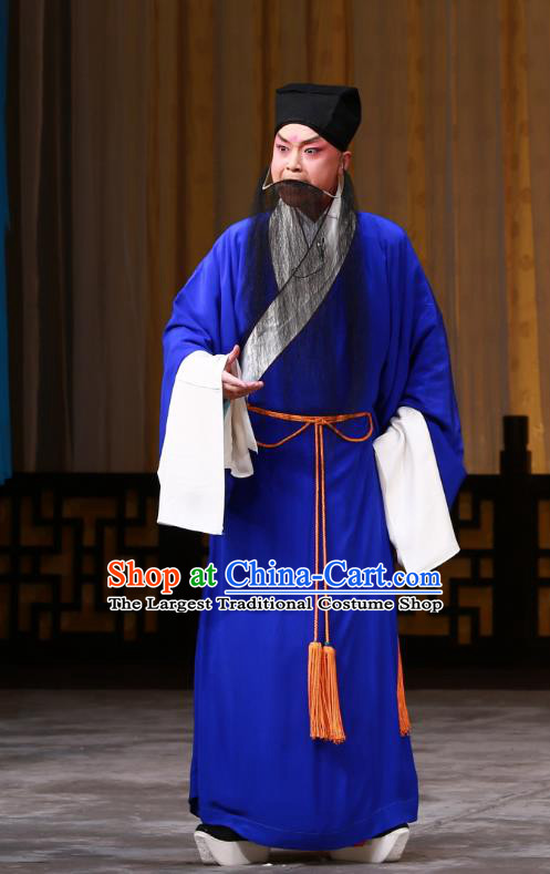 The Mirror of Fortune Chinese Peking Opera Elderly Male Garment Costumes and Headwear Beijing Opera Magistrate Mei Junci Apparels Clothing