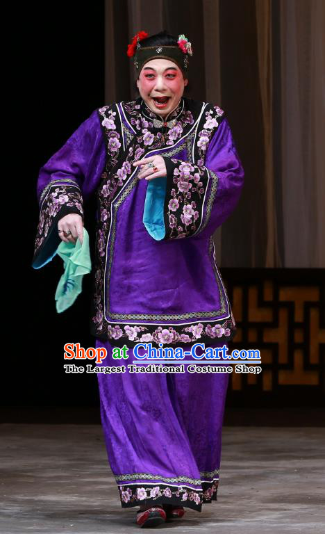 Chinese Beijing Opera Woman Matchmaker Apparels Costumes and Headdress The Mirror of Fortune Traditional Peking Opera Elderly Female Purple Dress Garment