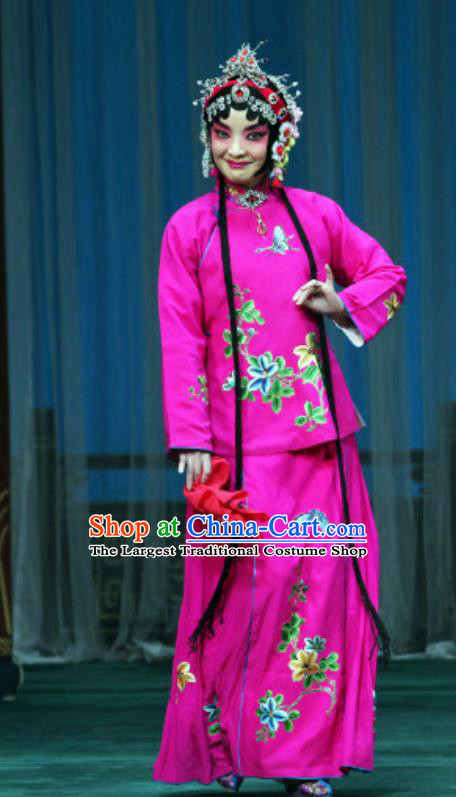 Chinese Beijing Opera Treacherous Woman Apparels Costumes and Headdress The Mirror of Fortune Traditional Peking Opera Consort Rosy Dress Actress Garment