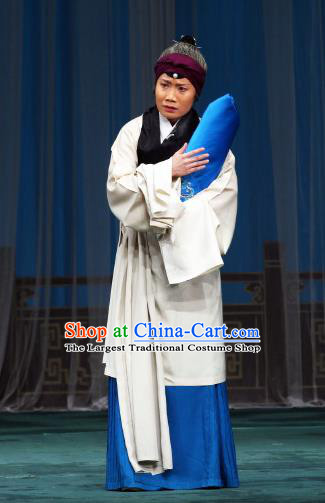 Chinese Beijing Opera Female Servant Apparels Costumes and Headdress The Mirror of Fortune Traditional Peking Opera Elderly Woman Dress Dame Garment