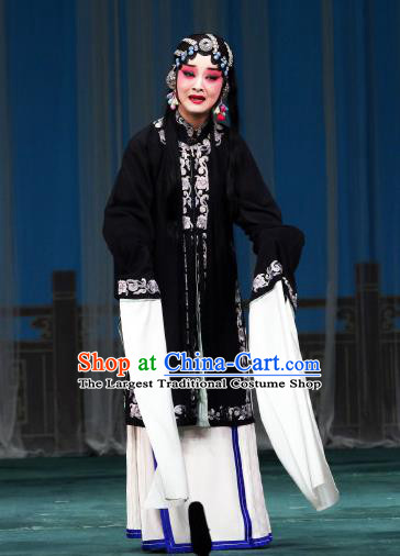 Chinese Beijing Opera Tsing Yi Apparels Costumes and Headdress The Mirror of Fortune Traditional Peking Opera Young Female Dress Distress Woman Garment