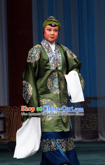 Chinese Beijing Opera Rich Dame Apparels Costumes and Headdress The Mirror of Fortune Traditional Peking Opera Pantaloon Dress Laodan Green Garment