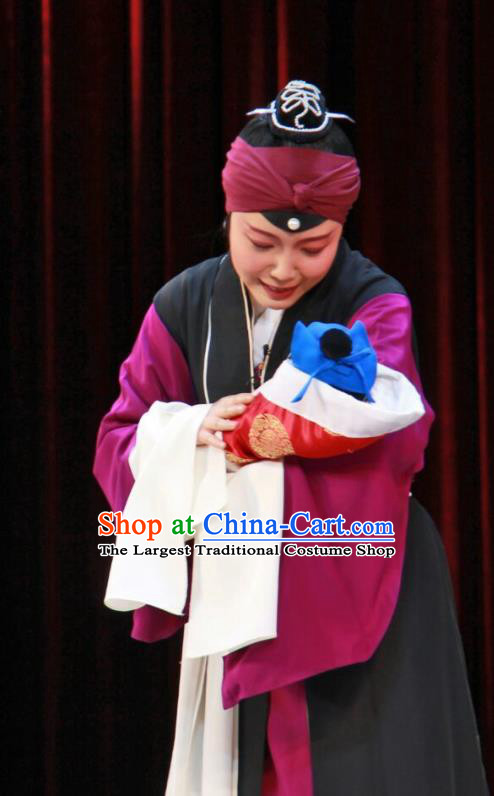 Chinese Beijing Opera Elderly Female Apparels Costumes and Headdress The Mirror of Fortune Traditional Peking Opera Laodan Dress Garment