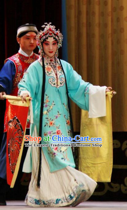 Chinese Beijing Opera Young Female Apparels Costumes and Headdress The Mirror of Fortune Traditional Peking Opera Diva Dress Actress Garment