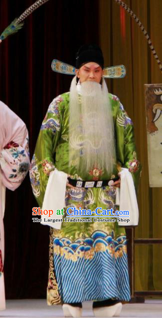 The Mirror of Fortune Chinese Peking Opera Elderly Male Garment Costumes and Headwear Beijing Opera Laosheng Apparels Official Lin He Clothing