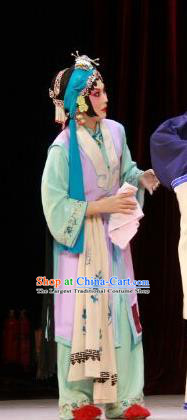 Chinese Beijing Opera Young Lady Apparels Costumes and Headdress The Mirror of Fortune Traditional Peking Opera Xiaodan Shou Chun Dress Maidservant Garment