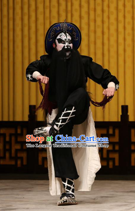 A Honey Trap Chinese Peking Opera Takefu Garment Costumes and Headwear Beijing Opera Wusheng Apparels Martial Man Zhang Fei Clothing