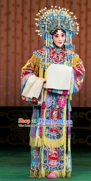 Chinese Beijing Opera Hua Tan Actress Apparels Costumes and Headdress Princess Yinping Traditional Peking Opera Diva Dress Garment