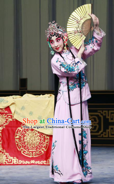 Chinese Beijing Opera Hua Tan Fairy Fox Apparels Costumes and Headdress Qing Shi Mountain Traditional Peking Opera Young Female Dress Actress Garment