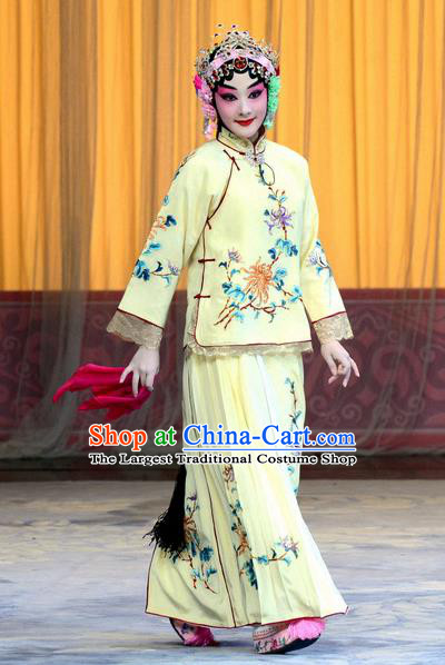 Chinese Beijing Opera Young Lady Apparels Costumes and Headpieces Xin An Yi Traditional Peking Opera Diva Zhao Meirong Yellow Dress Actress Garment