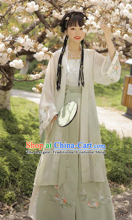 Chinese Traditional Song Dynasty Young Lady Historical Costumes Ancient Patrician Female Embroidered Hanfu Dress Apparels for Women