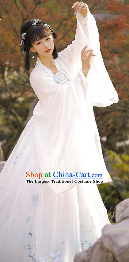 Chinese Traditional Tang Dynasty Royal Princess Apparels Historical Costumes Ancient Court Lady Embroidered White Hanfu Dress for Women