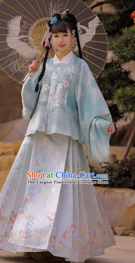 Chinese Ancient Noble Lady Embroidered Hanfu Dress Traditional Ming Dynasty Historical Costumes Apparels for Rich Woman