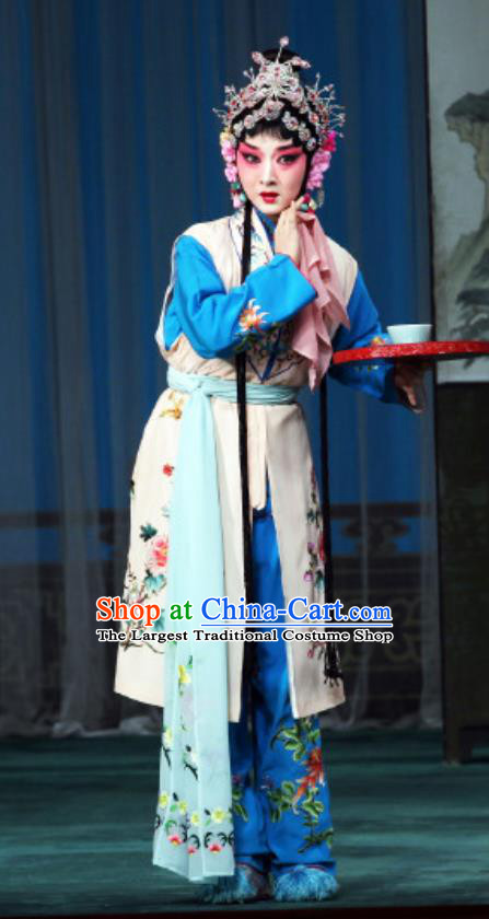 Chinese Beijing Opera Young Lady Apparels Costumes and Headdress The Mirror of Fortune Traditional Peking Opera Xiaodan Dress Maidservant Shou Chun Garment
