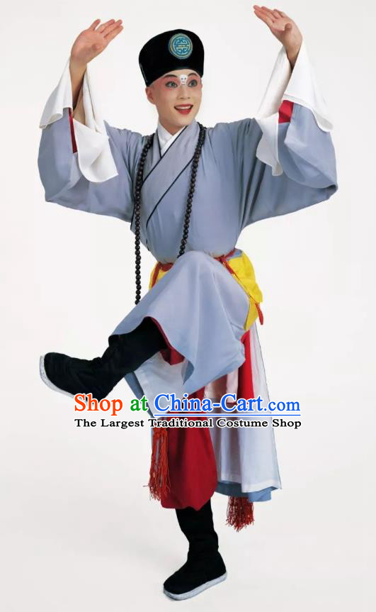Escaping From the Temple Chinese Peking Opera Monk Garment Costumes and Headwear Beijing Opera Xiaosheng Apparels Young Male Clothing