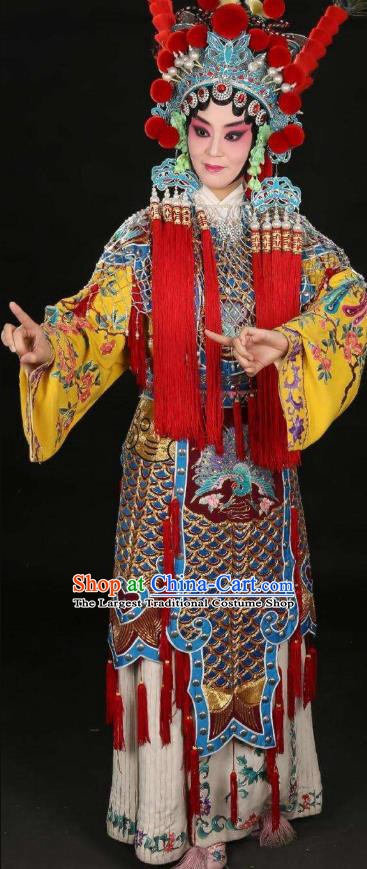 Chinese Beijing Opera Martial Female Apparels Costumes and Headdress Traditional Peking Opera Blues Princess Shuangyang Dress Garment