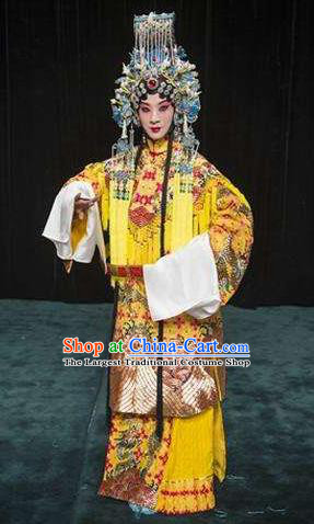 Chinese Beijing Opera Queen Apparels Hua Tan Costumes and Headdress Anecdote of Wu Zetian Traditional Peking Opera Empress Dress Garment